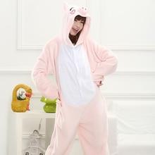 Animal Pink Pajamas sets Flannel Nightie Pyjama Hooded Long Sleeve Adult Sleepwear For Women Winter Cute Cartoon Licorne Femmes