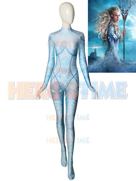 Queen Atlanna Costume Aquaman Movie Version Cosplay Costume 3D Print Superhero Zentai Bodysuit Catsuit can custom made