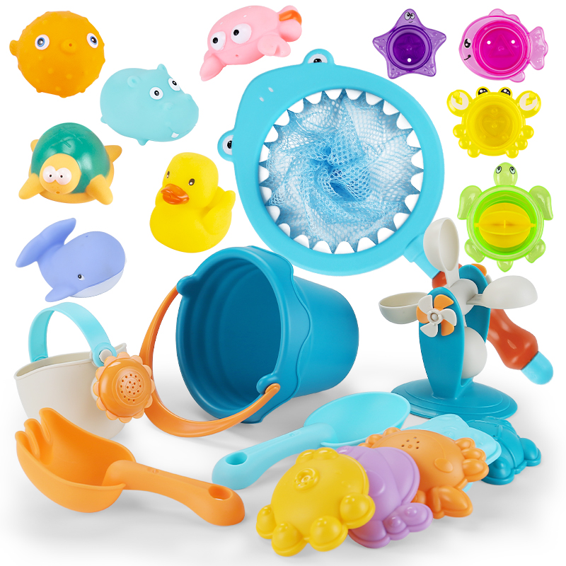 21 Baby Bath Toy Fishing Network Organize Rubble Duck Toy Swimming Classes Play Beach Spray Water Bathroom Children Toddlel Toys