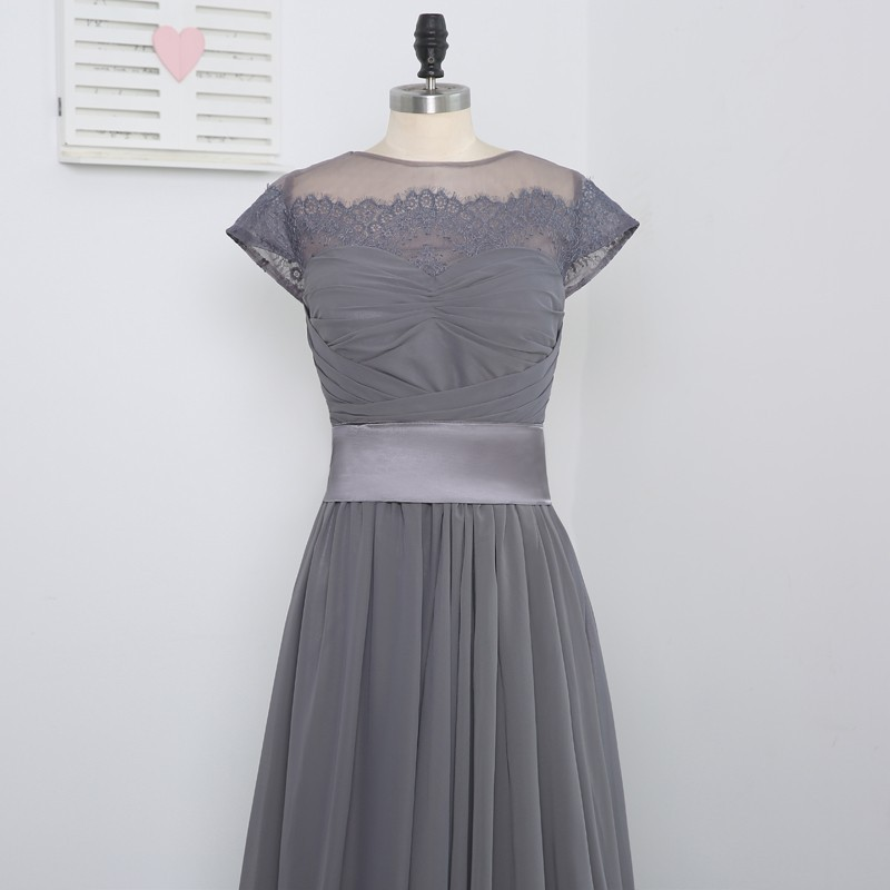 A-line High Collar Cap Sleeves Gray Chiffon Long Bridesmaid Dress