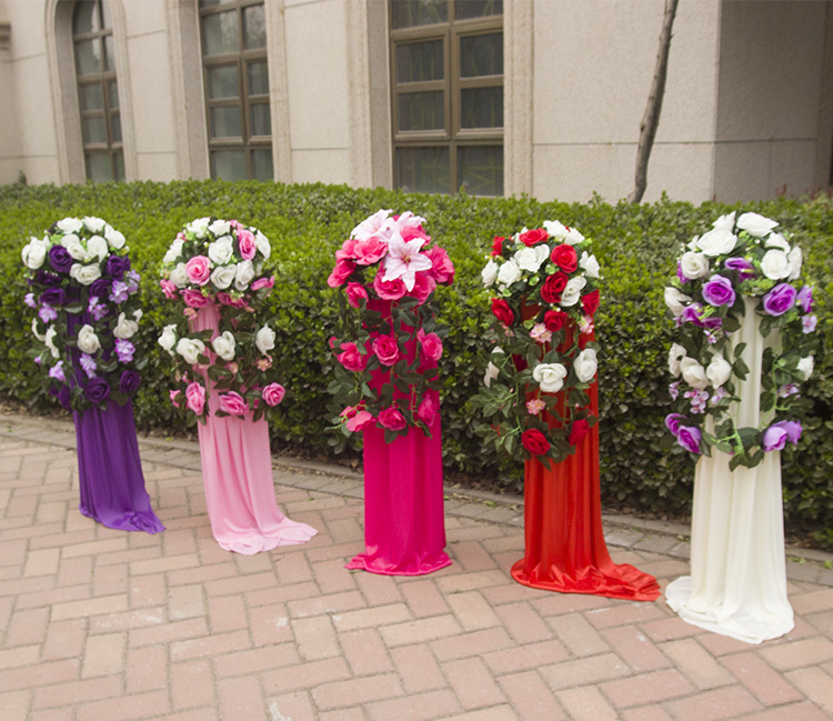 2016 Wedding Flower Decoration Shop Open Door Party Backdrop Iron Lead Road With Rose Silk In Artificial Dried Flowers