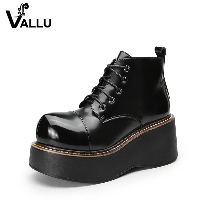2018 VALLU femmes chaussures bottes compensées à lacets Roud orteils plate forme bottines en cuir véritable dame bottes décontractées-in Bottines from Chaussures    2