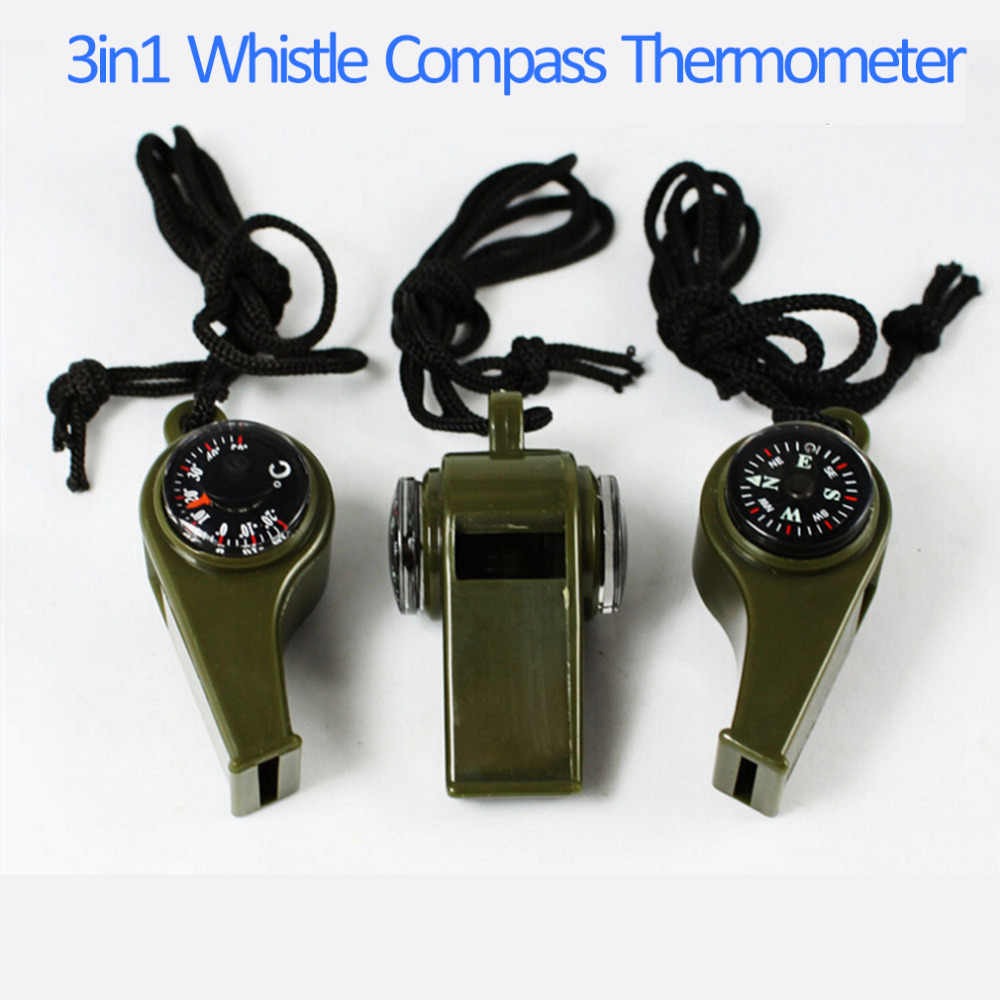 1PC New black Whistle Compass 3 in1 Survival Camping Thermometer new brand