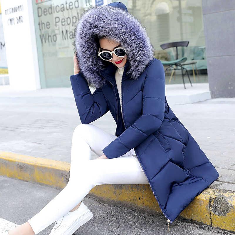 Winter Weibliche Lange Jacke 2019 Winter Mantel Frauen Gefälschte Pelz Kragen Parkas Frau Plus größe S-6XL Unten Jacke Winter Jacke frauen