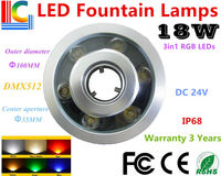 DMX512 Control RGB 3in1 18W RGB LED Fountain Lamp IP68 Waterproof Underwater Lights CE RoHS Outdoor