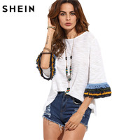SheIn Womens Casual Clothing 2016 Summer T Shirt Tops Ladies Beige Fringe Cuff Round Neck Half