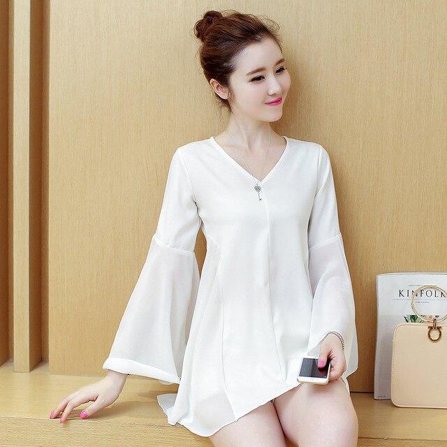 Mulheres de longo camisa plus size new arrival 2017 flare blusa manga com decote em v estilo coreano elegante magro chiffon tops branco, preto