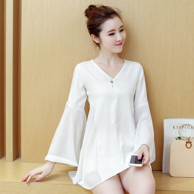 Women Long Shirt Plus Size New Arrival 2017 Flare Sleeve Blouse V-neck Korean Style Elegant Slim Chiffon Ladies Tops White,Black