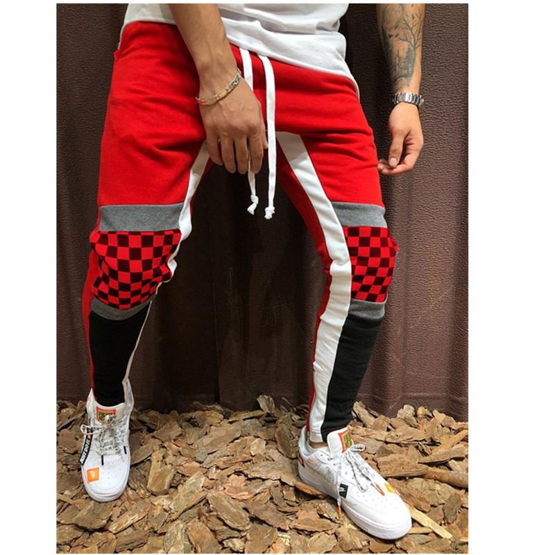 Rua masculina casual sweatpants preto e branco moda hip-hop sweatpants jogging collage calças masculinas 2019
