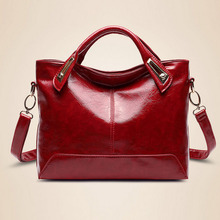 Fashion casual tote female bolsas bag women messenger bags office lady leather handbag oil leather wine red