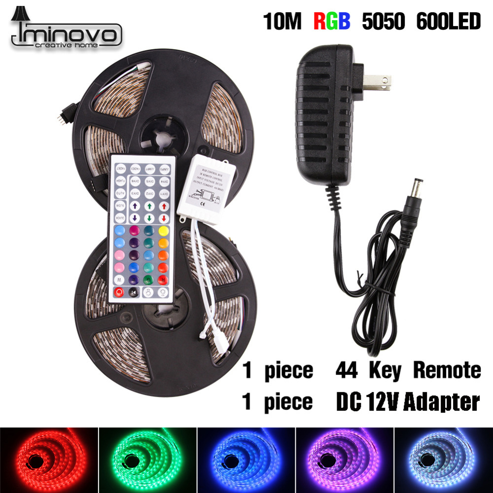 IMINOVO Led RGB Strip 5M Waterproof Flexible Ribbon Tape Lamp 5050SMD 300Led DC 12v Lighting For Motorcycle Party Decoration new arrival 5m 150leds waterproof rgb led strip light ws2811 5050 smd dc12v flexible light led ribbon tape home decoration lamp