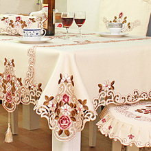 Tablecloth Beige Embroidery Christmas-Decor Rectangular Wedding Parties Polyester Dinner