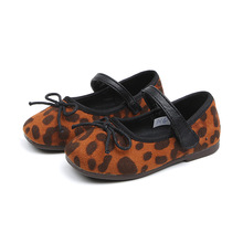 Spring Leopard little Baby Girls Shoes Childrens princess shoes bowknot Kids for baby girls Soft bottom 1-6 7T