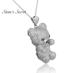 Image 2 - Cute Bear Full of Glittery Cubic Zirconia 925 Sterling Silver Pendant With Chain Best Birthday Gift for Children and Lady
