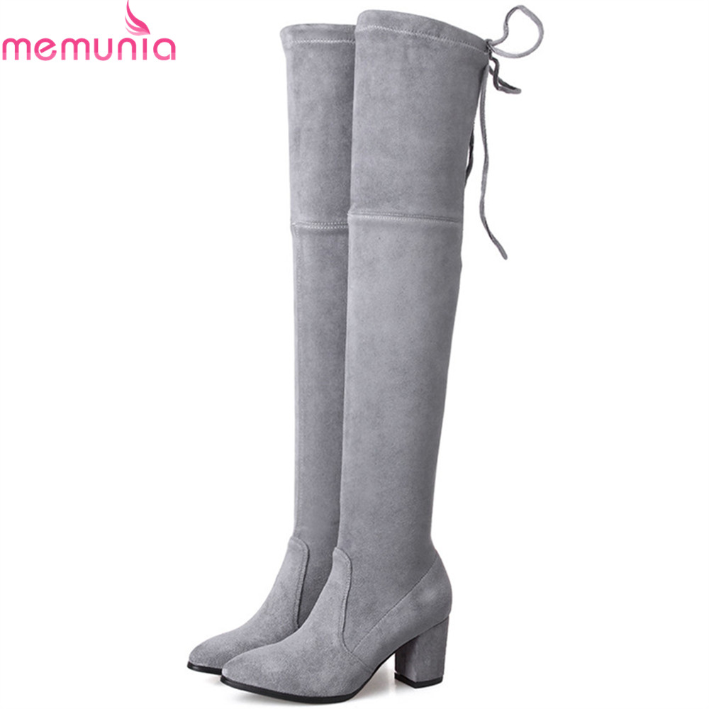 MEMUNIA black gray wine red fashion women boots pointed toe zipper ladies boots square heel flock cross tied over the knee boots fo 84007 статуэтка мал сомелье the wine taster forchino 856442