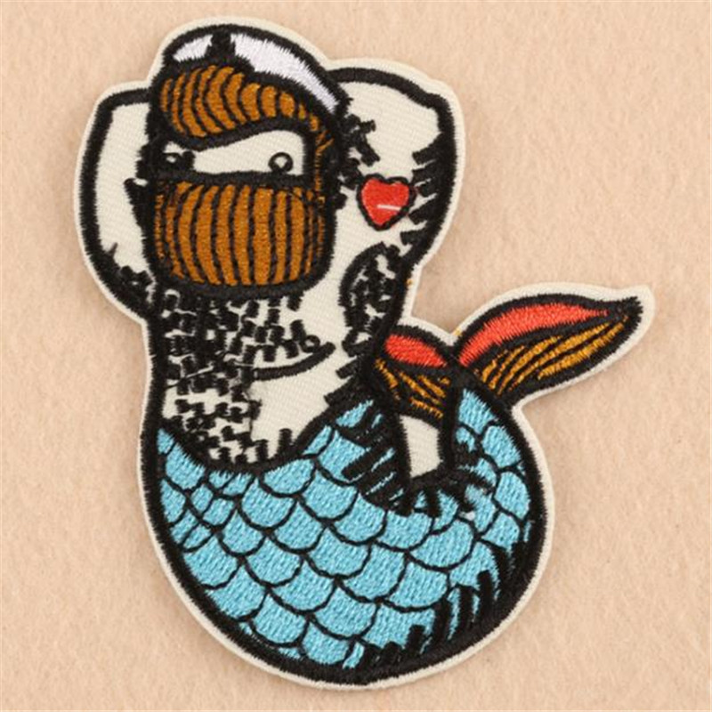 Fashion embroidery animal patch 90mm funny mermaid Diy clothes stickers deal with it iron on pacthes for clothing T shirt
