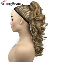 StrongBeauty Synthetische Lange Wellenförmige Pferdeschwanz Clip In Pony Schwanz Haar Verlängerung Clip Auf Haar Stück