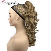 Strongbeauty 포니 테일 헤어 익스텐션 클립에 합성 긴 물결 모양의 포니 테일 클립