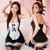 Sexy Maid Costumes Women Uniform Dress Black Lace Outfit Cosplay Halloween French Maid Costumes Suit Game