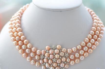 LIVRAISON GRATUITE >>>@@ AS33160 3row 8-9mm rond rose culture D'eau Douce perle fleur collier