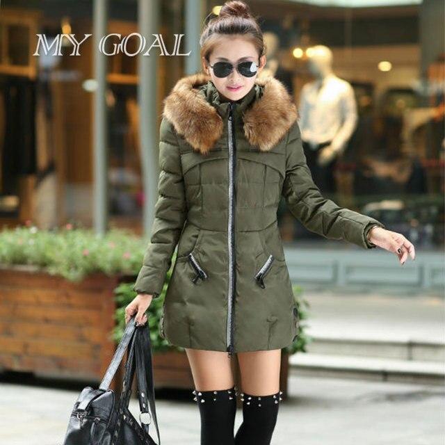 Nuevo invierno chaqueta de Las Mujeres de Corea Slim Down Nagymaros cuello largas secciones outwear Abajo Parkas chaqueta de algodón acolchada chaqueta Verde