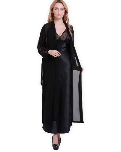Free Shipping Women Satin Silk Robes Two-Piece Faux Silk Bathrobe Autumn Softness Sexy Lace Long Robe Home Wear Sleepshirts