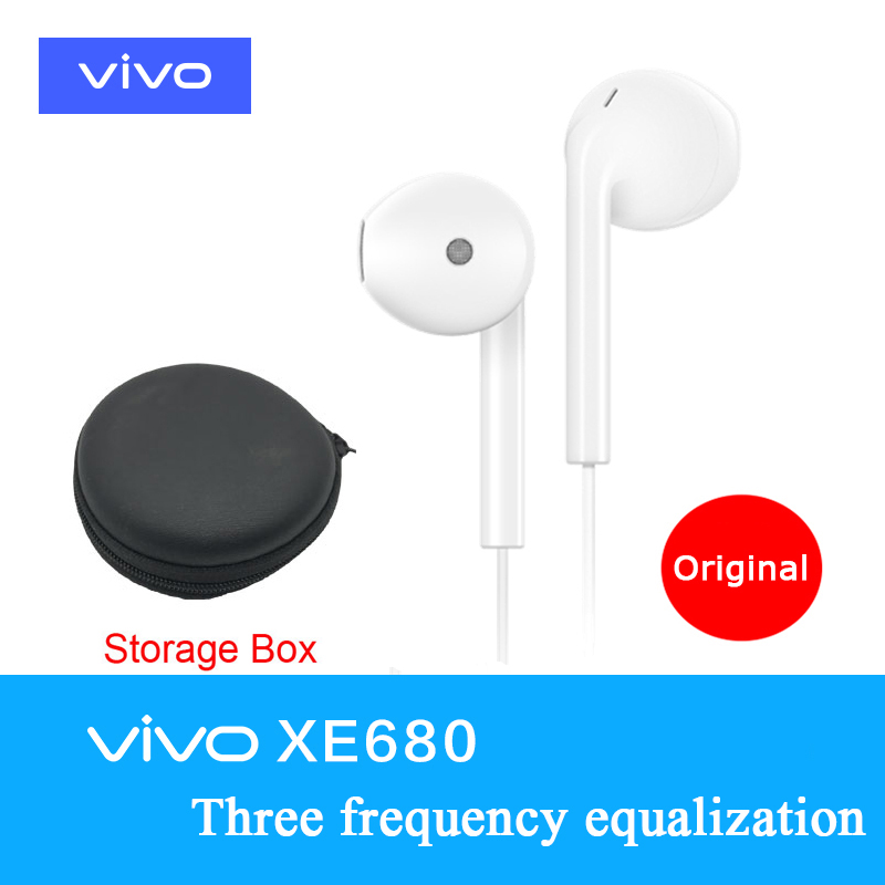 Original VIVO XE680 Headsets In-Ear with Storage Box 3.5mm Plug Wire Controller earphone for VIVO x21 x20 x23 x7 x9plus xplay6