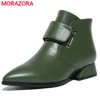 MORAZORA Top Quality Genuine Leather Boots Female Solid Pointed Toe Low Heels Boots Woman Spring Autumn