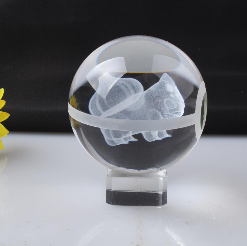 Pokemon Engraving Bulbasaur Round Crystal Nice Fashion Ball With Base With Gift Box