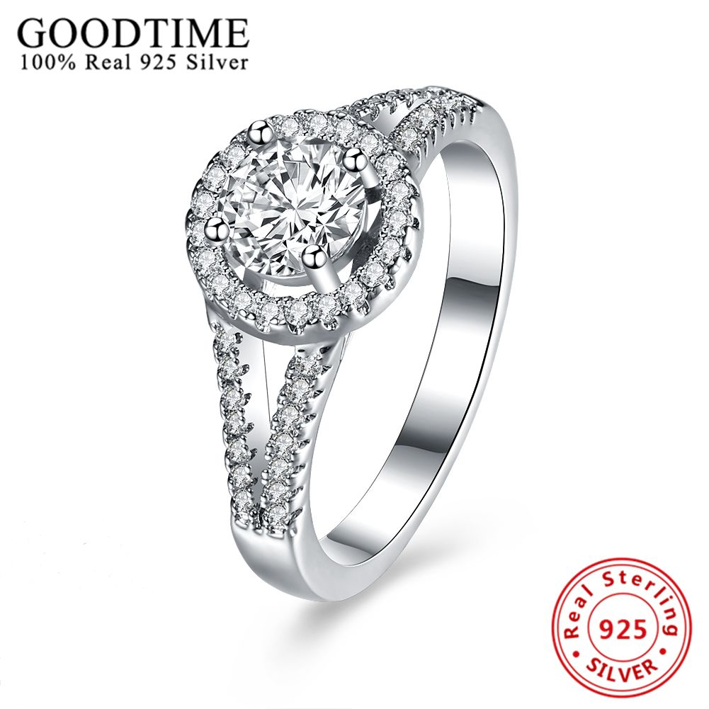 Sterlingsilverjewelry Real 925 Sterling Silver Cz Diamond Ring For Woman  Classic Engagement