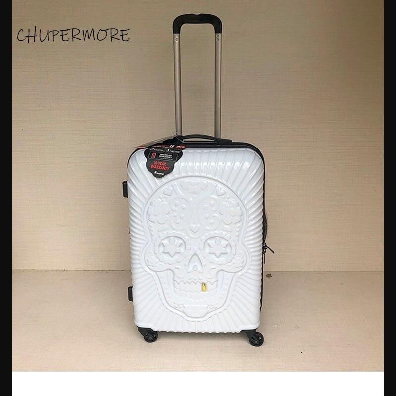 3D cráneo diente de oro 19/24/28 pulgadas de tamaño Extra grande volumen PC equipaje rodante Spinner viaje marca maleta-in Equipaje de ruedas from Maletas y bolsas    1