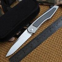 DICORIA Piston separated ball bearing flipper Folding knife Titanium + CF handle D2 blade camping outdoor gear Knives EDC tools