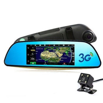Car DVR  Supports GPS Navi Bluetooth WIFI Dash camera recorder 1080P 7 inch Video Camera FHD  Rear View Mirror  Dual Lens 3G