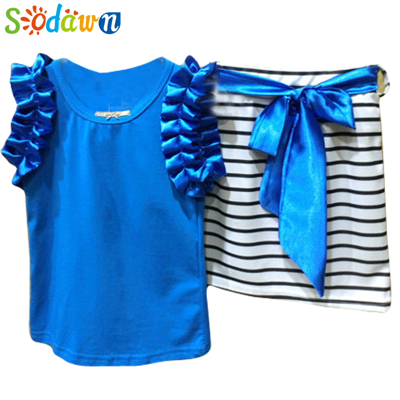 summer clothes set love print female child sleeveless T-shirt and Short skirt Baby Girl Clothes kids Clothing