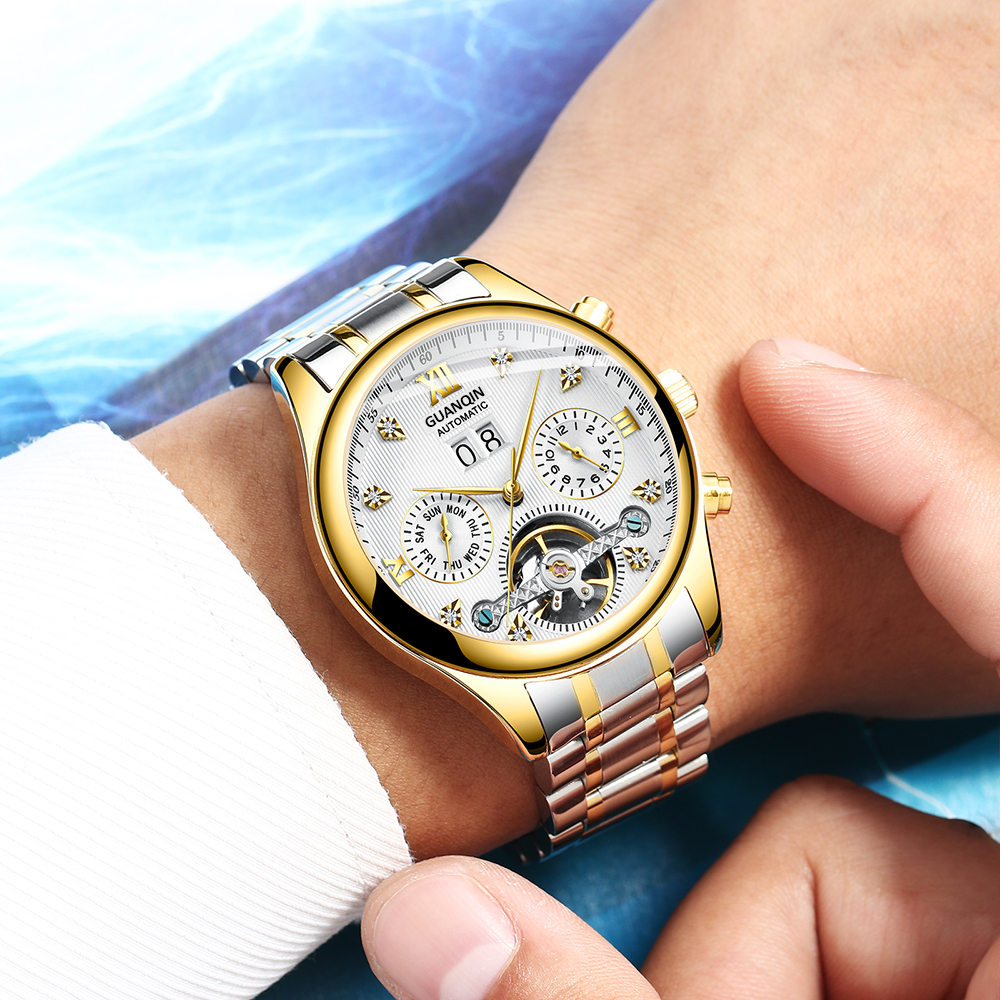 HTB1zeYQadzvK1RkSnfoq6zMwVXau GUANQIN 2019 Automatic clock men Mechanical watch men Tourbillon waterproof top brand luxury dropshipping date relogio masculino