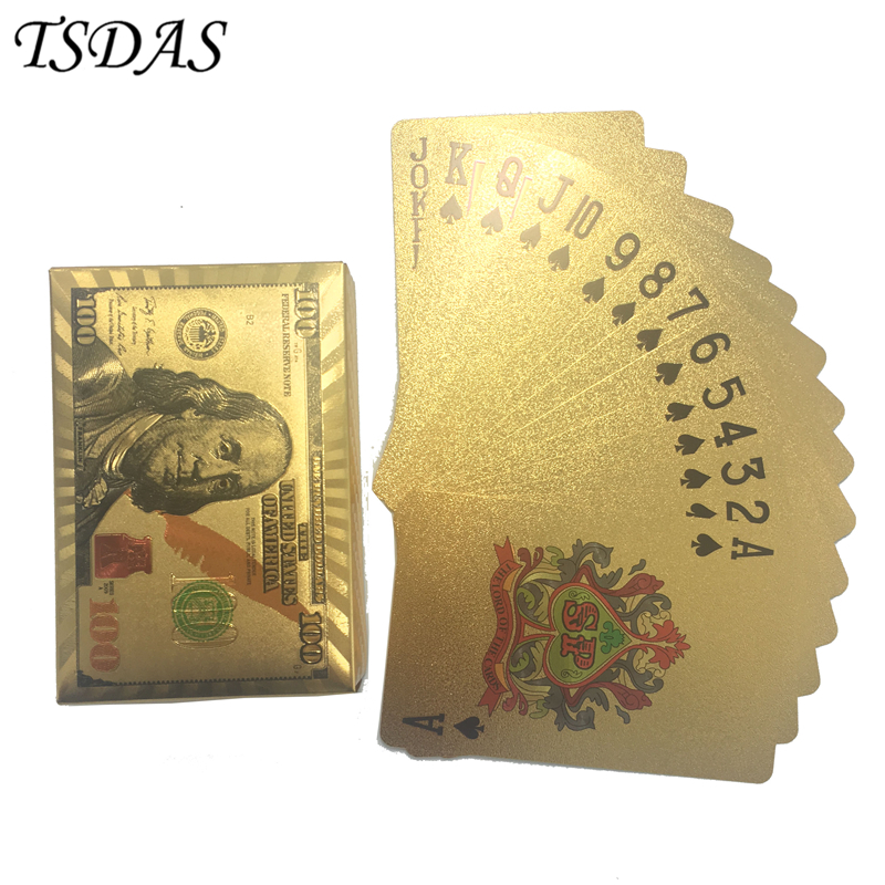 24k Gold Poker Card Gold Plated NEW 100 Dollar Design, Custom Playing Cards Table Leisure Game