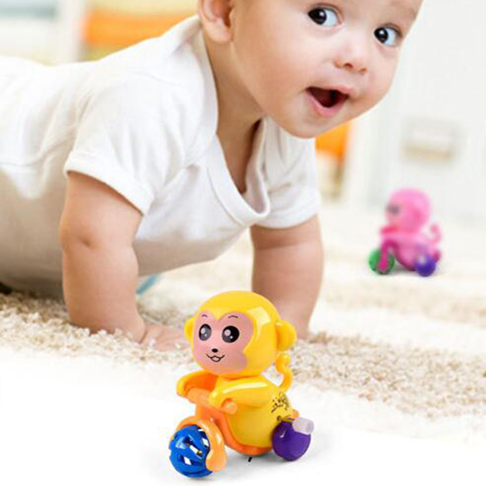 Wholesale 1 PCS Wind Up Toys on the chain cartoon baby monkey animal toys with rattles sound children education educational Toys