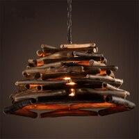 Американский кантри Ретро оригинальная, Экологически чистая дерево ресторан люстра Личность Творческая кафе деревянный светильник Беспла