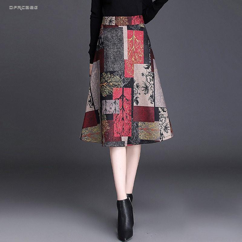 Elegant Womens Midi A-line Skirts Women Winter Fashion High Waist Print Vintage Knee Length Skirts Female Office Big Swing Saias
