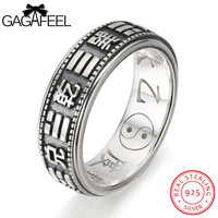 GAGAFEEL Gossip Ring Real Sterling-Silver-Jewelry For Men Male With Eight Trigrams 8MM Punk Band Gift For Boys Evening Party