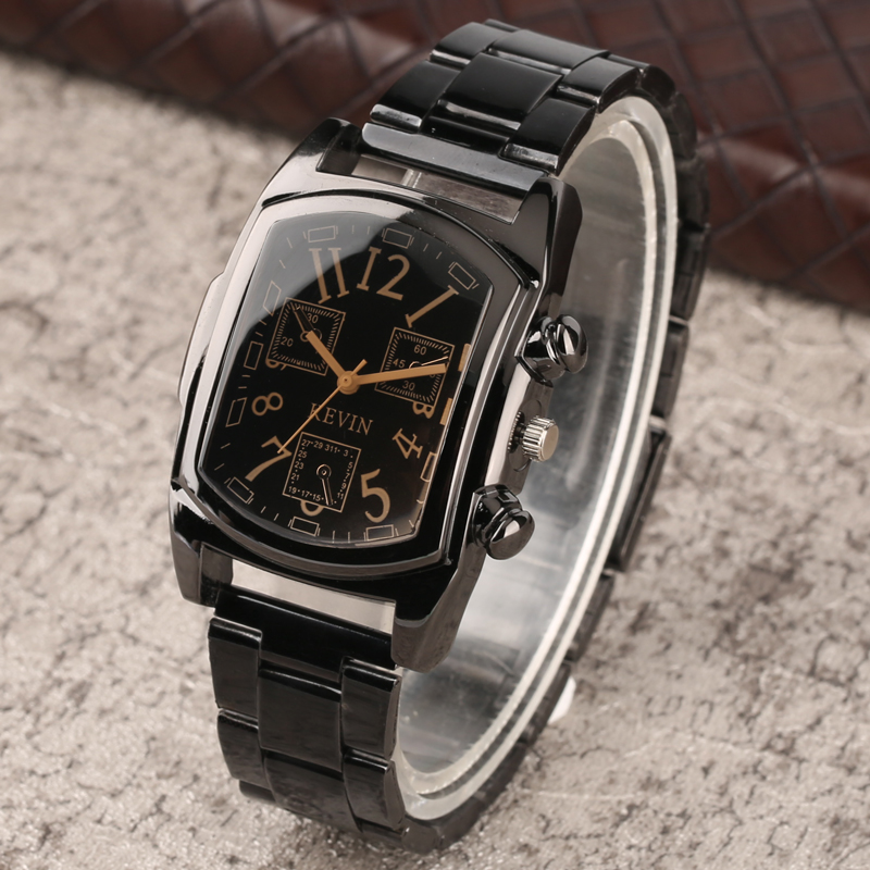KEVIN Fashion Numbers Design Quartz Mens Wristwatch Stainless Steel Watchband Bracelet Casual Men's Watches Gifts reloj New 2018 high quality luxury mens hand made walnut ebony quartz watches wooden watchband bracelet clasp casual fashion wristwatch gift