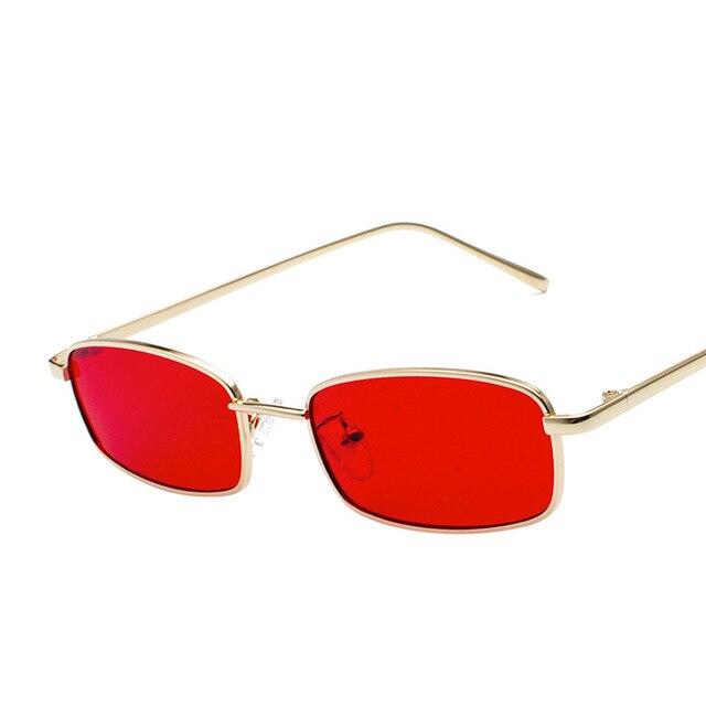 d4e1612ac7 Pequeño cuadrado gafas de sol de las mujeres mujer hombre marco de Metal  gafas de diseñador