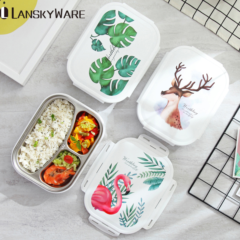 LANSKYWARE Japanese Color Pattern Bento Box 304 Stainless Steel Lunch Box With Compartments For Kids School Food Container Box in Lunch Boxes from Home Garden