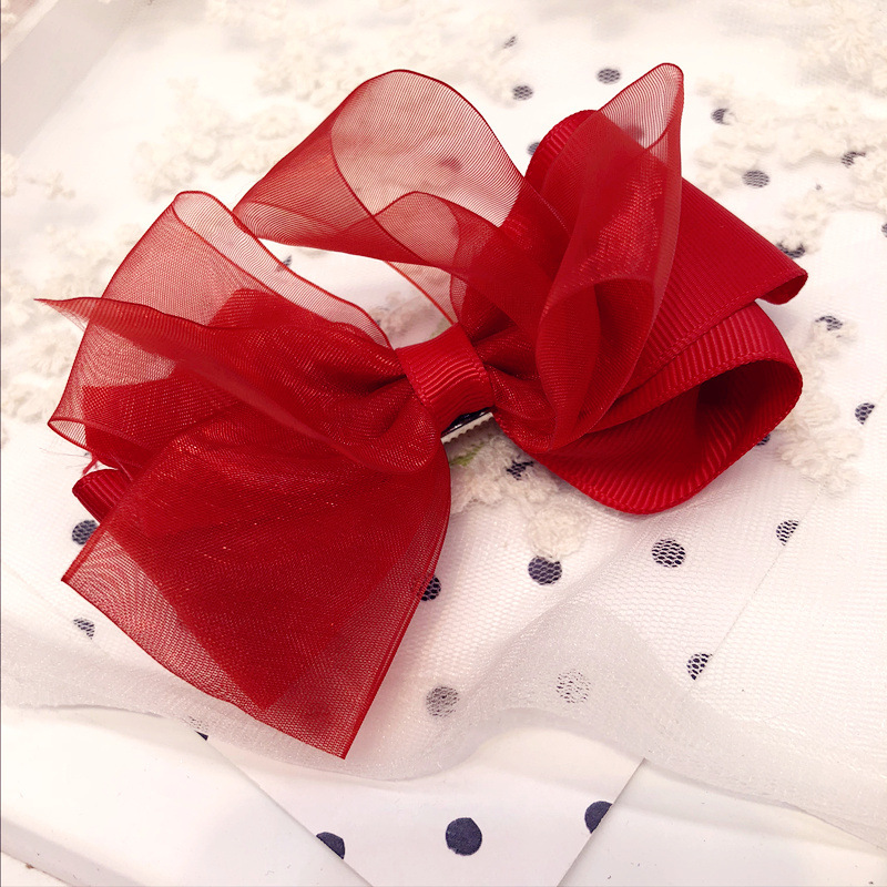 Colorful Ribbon Big Hair Bows Hair Accessories For Girls Korea Princess Hair Clips Flower Crown Hair Ornaments Rim Hairpin in Hair Accessories from Mother Kids