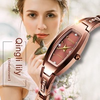 Barato Reloj de cuarzo de marca JSDUN para mujer, reloj de pulsera informal de acero de tungsteno, oro rosa, movimiento japonés, relojes de mujer, reloj femenino, regalo