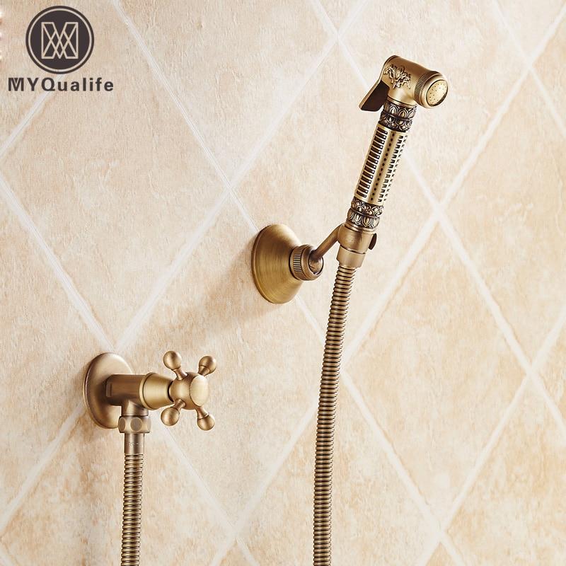 Artistic Luxury Brass Antique Handheld Toilet Bathroom Bidet Sprayer Shower Head Water Nozzle Bidet Spray Sprinkler antique brass artistic bathroom toilet brush holder