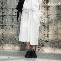 Cakucool New Summer Cotton Long Skirt Spring Asymmetric Design Big Pocket Casual Japan Design White Skirts