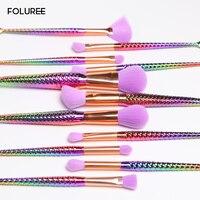 FOLUREE 11 8pcs Purple Brush Colorful Unicorn Mermaid Powder Makeup Brushes Eyeshadow Eyes Blending Foundation Cosmetic