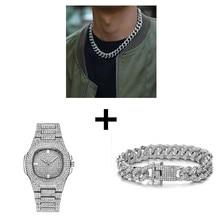 Collar + reloj + pulsera Hip Hop Miami Curb cadena cubana oro plata helado pedrería CZ Bling rapero para de la joyería de los hombres