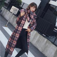 women winter jacket Tartan casual hooded long coat England style checked parka classic vintage mujer 2018 winterjas warm cotton